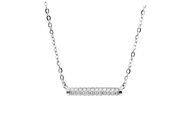 Charles Collection Geometric Bar Necklace with 35 diamonds in 18 carat white gold