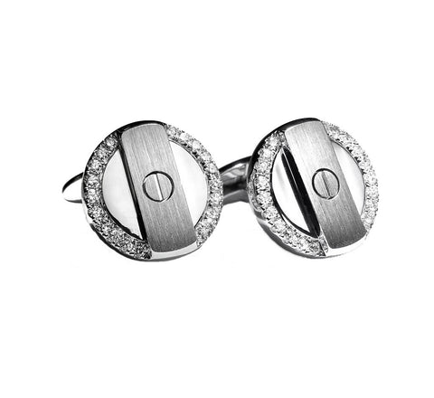 Cuff links in solid 18 carat white gold