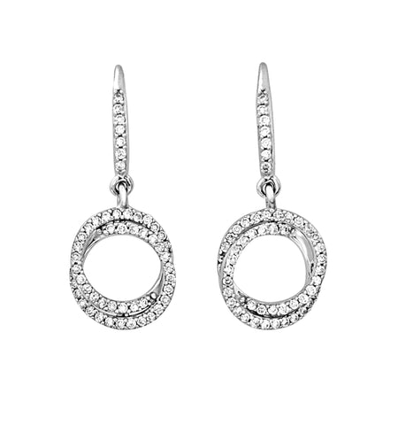 Double diamond loop drop earrings
