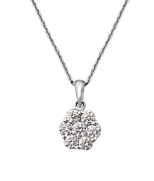 Brilliant cluster diamond pendant and necklace