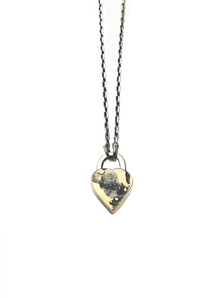 Small Heart Padlock Necklace  #1- Bronze