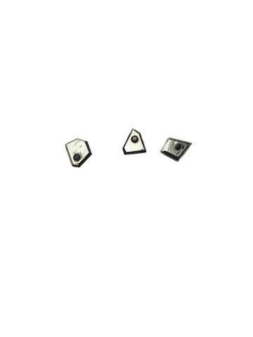Mismatched Stud with Black Spinel - Sterling Silver