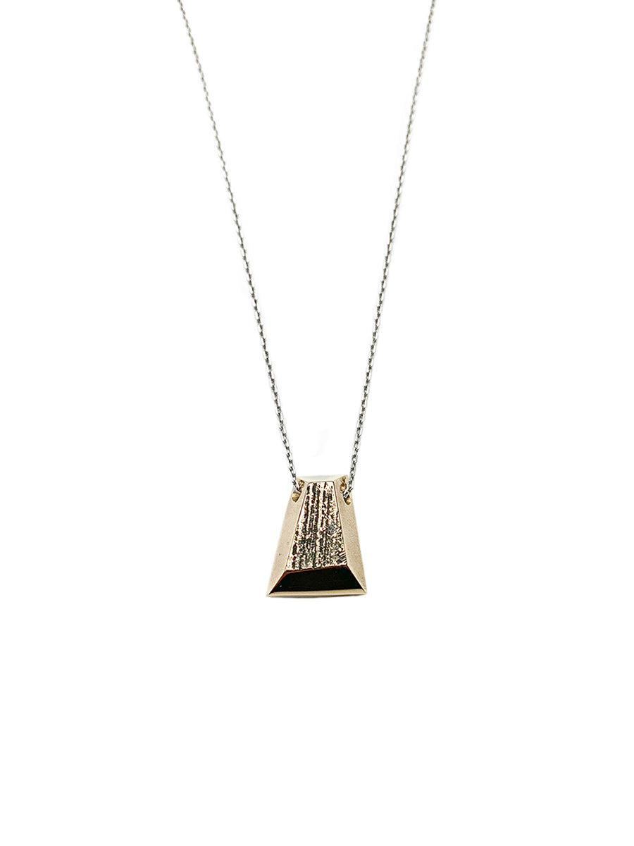 Trapezoid Sculpture Necklace - Bronze