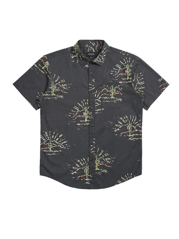 Charter Print Short Sleeve Woven - Washed Black