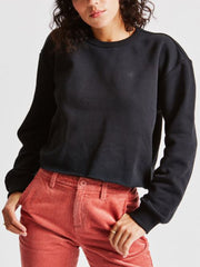 Vintage Crop Crew Sweatshirt - Black