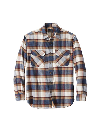 Burnside Flannel Shirt - Blue Henna & Cream Plaid