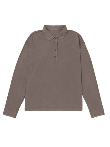 Women's Relaxed Long Sleeve Polo - Bitter Brown