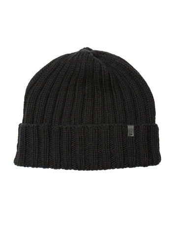 Merino Thick Rib Hat - Black
