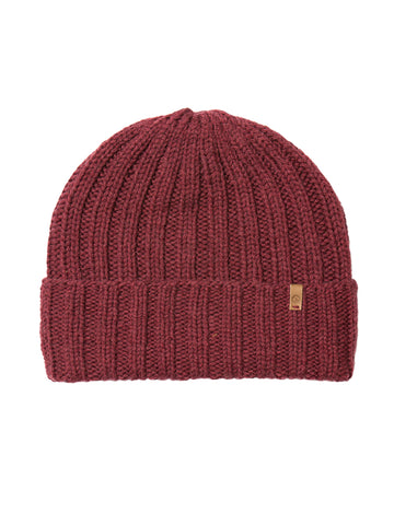 Merino Thick Rib Hat - Garnet Red