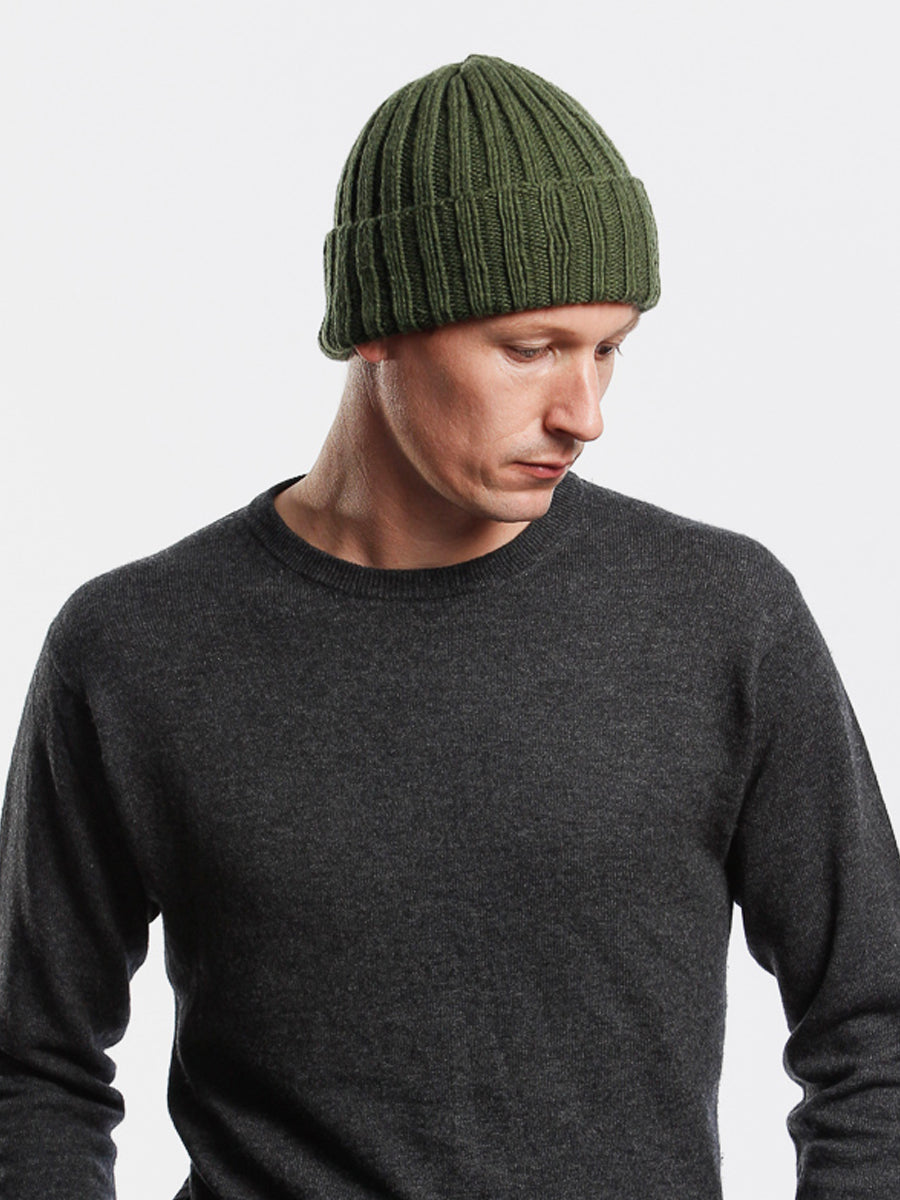 Merino Thick Rib Hat - Forest Green