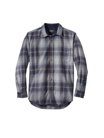 Lodge Fitted Shirt - Grey, Navy, Brown Ombre