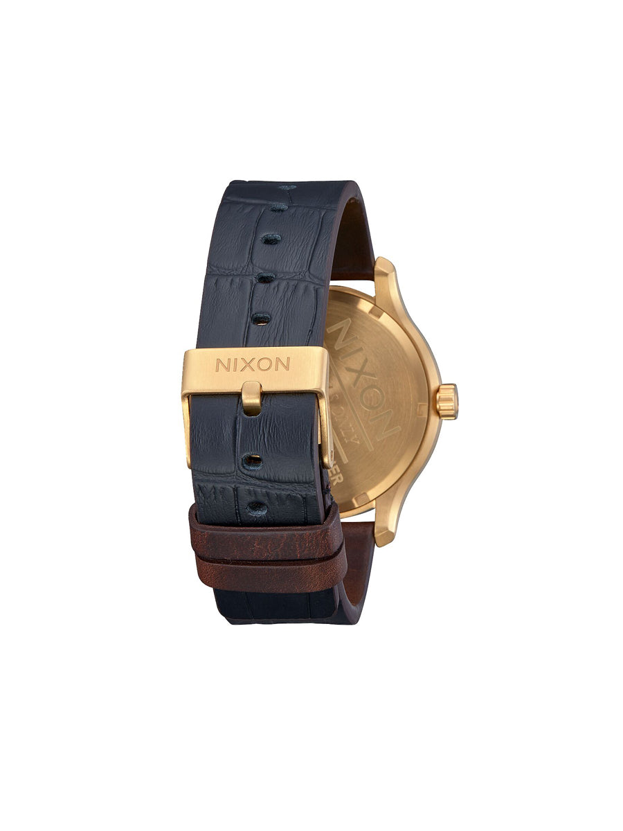 Patrol Leather Watch - Navy, Brown, & Black Gator