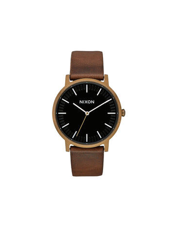 Porter Leather Watch - Brass, Black, & Brown
