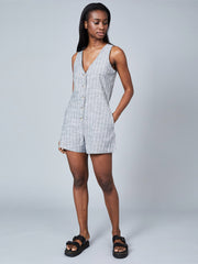Lauryn Romper - Grey & White Stripe