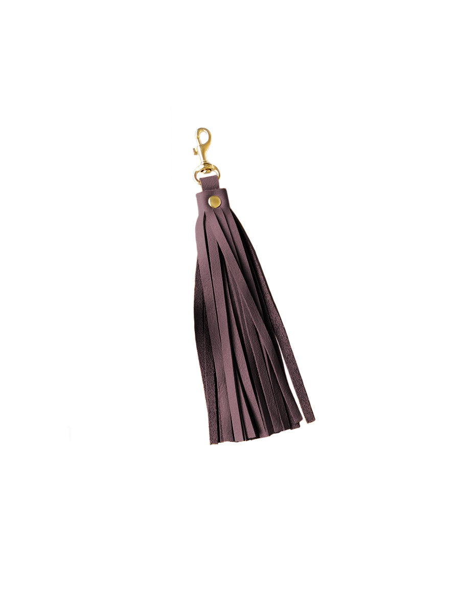 Leather Tassel - Eggplant