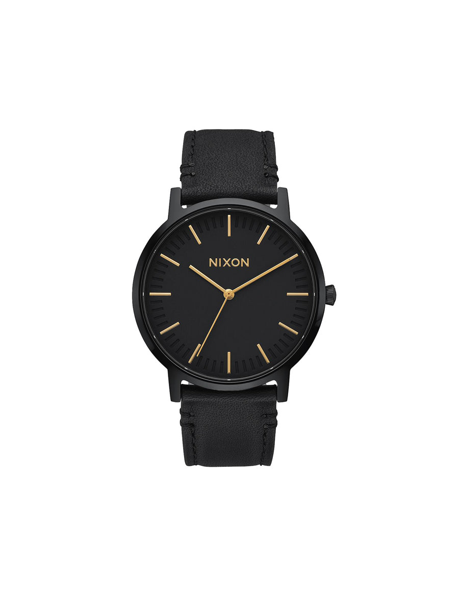 Porter Leather Watch - All-Black & Gold