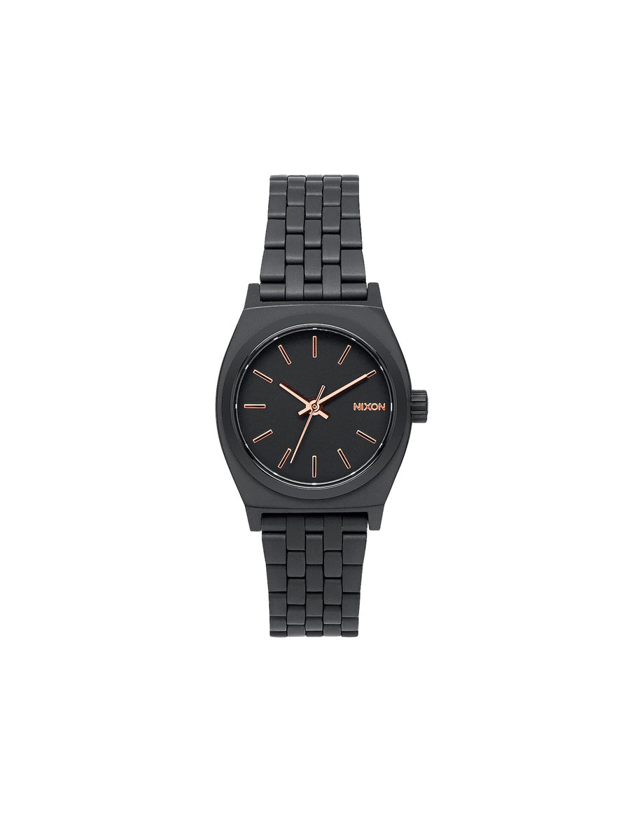 Small Time Teller Watch - All-Black & Rose Gold