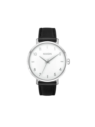 Arrow Leather Watch - Silver / White / Black
