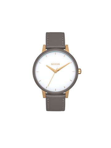 Kensington Leather Watch - Gold / White / Grey