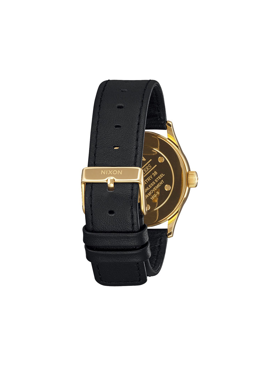 Sentry 38 Leather Watch - Gold / Black Sunray