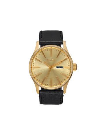 Sentry Leather Watch - All-Gold & Black