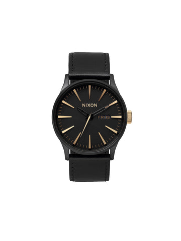 Sentry Leather Watch - Matte Black / Gold
