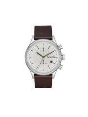 Station Chrono Leather Watch - Silver / Tan