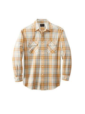 Beach Shack Shirt - Ivory, Aqua, & Orange Plaid