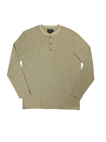 Subtle Stripe Long Sleeve Henley - Tan Stripe