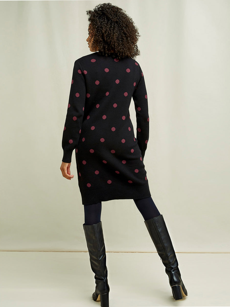 Danica Knit Dot Dress - Black