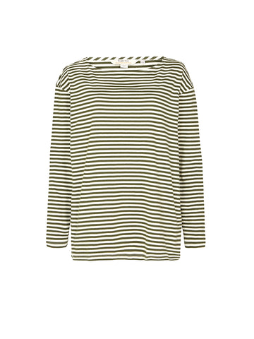 Emma Stripe Top - Green & White Stripe