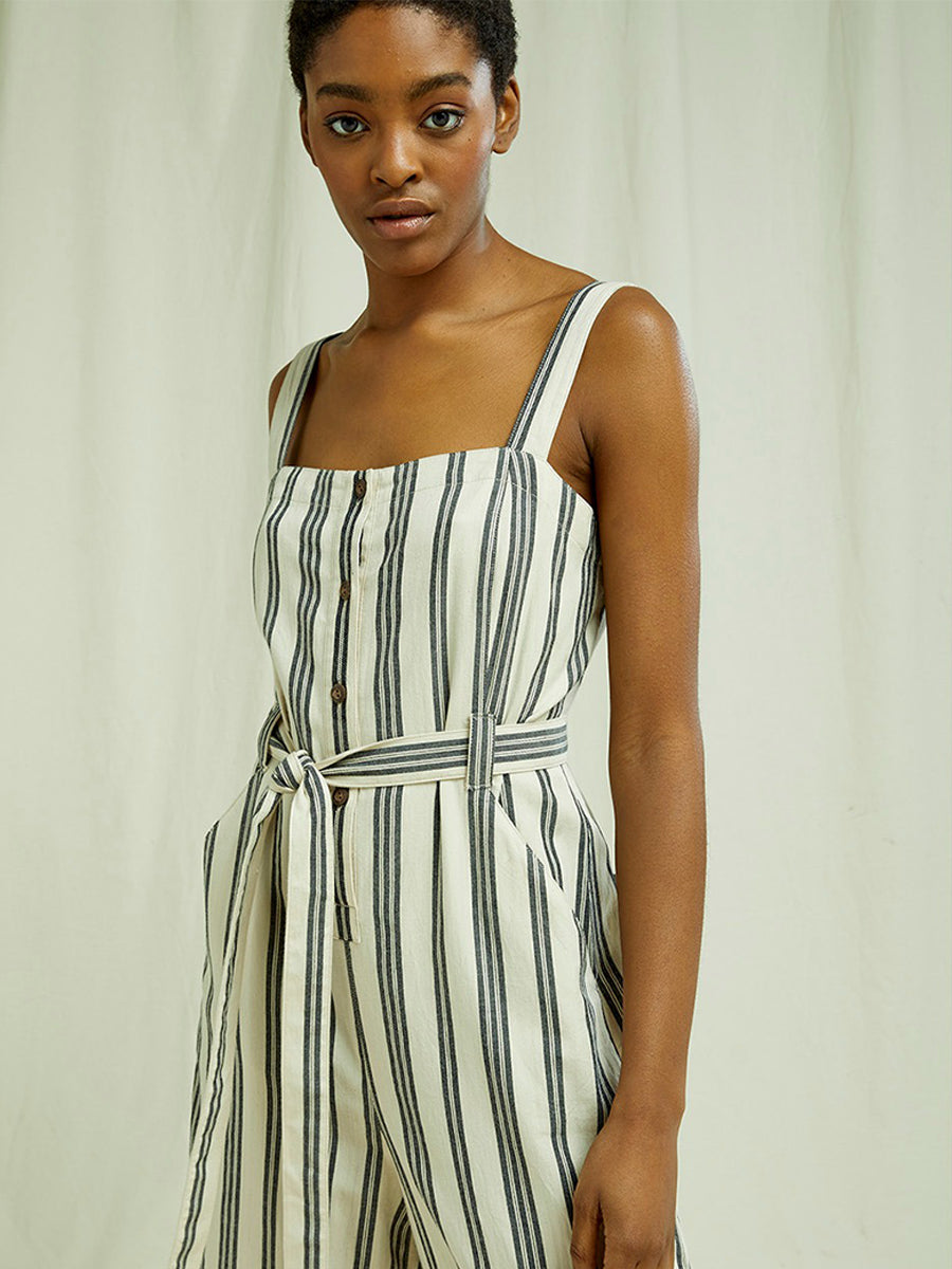 Rena Striped Jumpsuit - Fog/Black