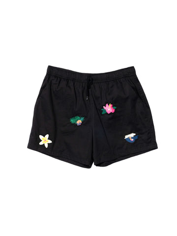 Pacific Embroidery Pool Shorts - Black