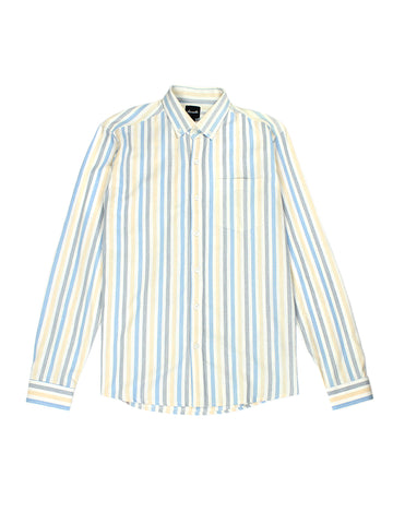 Upcycled Long Sleeve Shirt - Blue, White, & Yellow Stripe