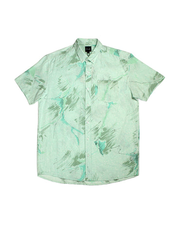 Upcycled Short Sleeve Shirt - Mint, Olive, & White