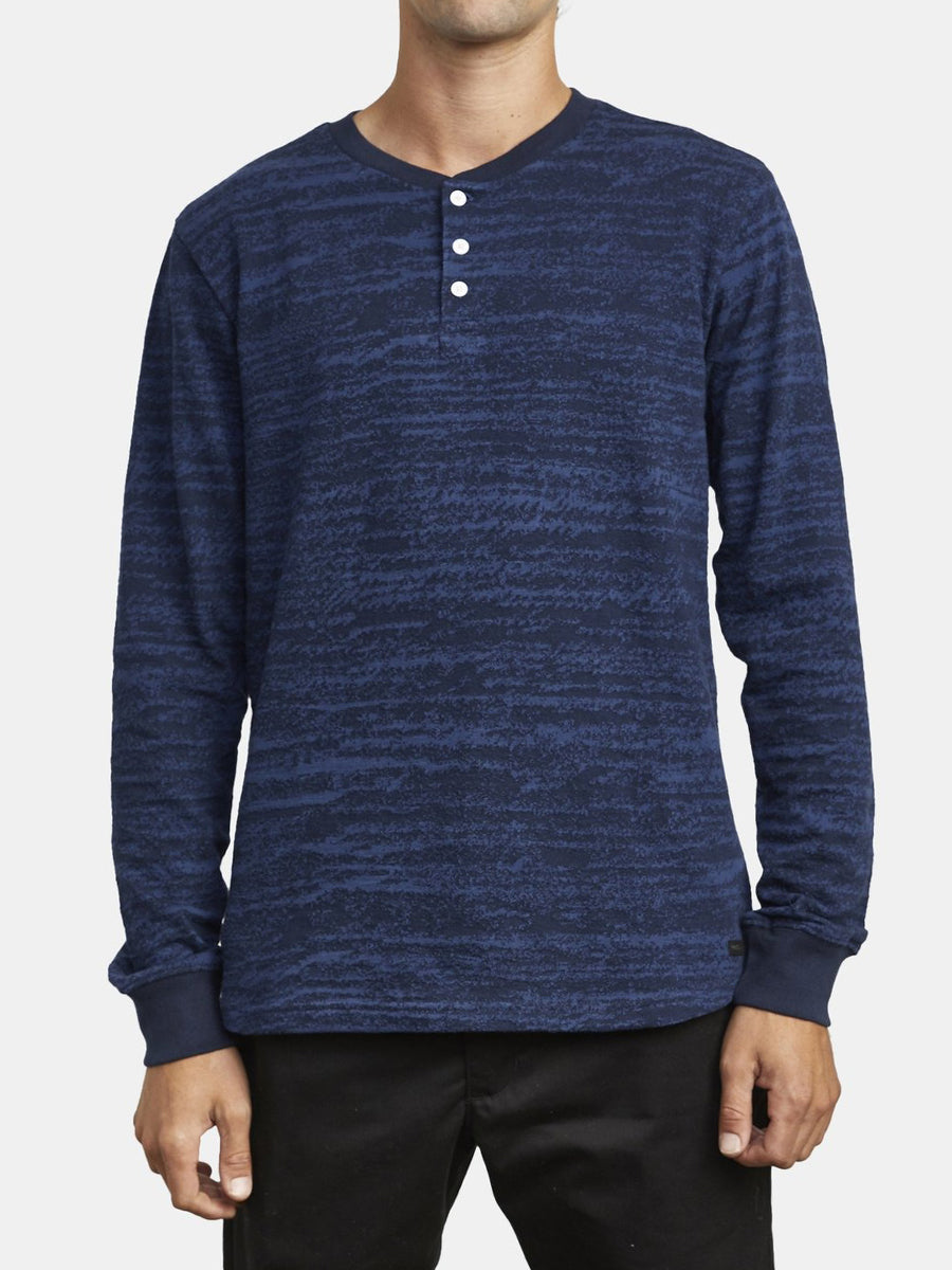 Lush Long Sleeve Henley - Navy