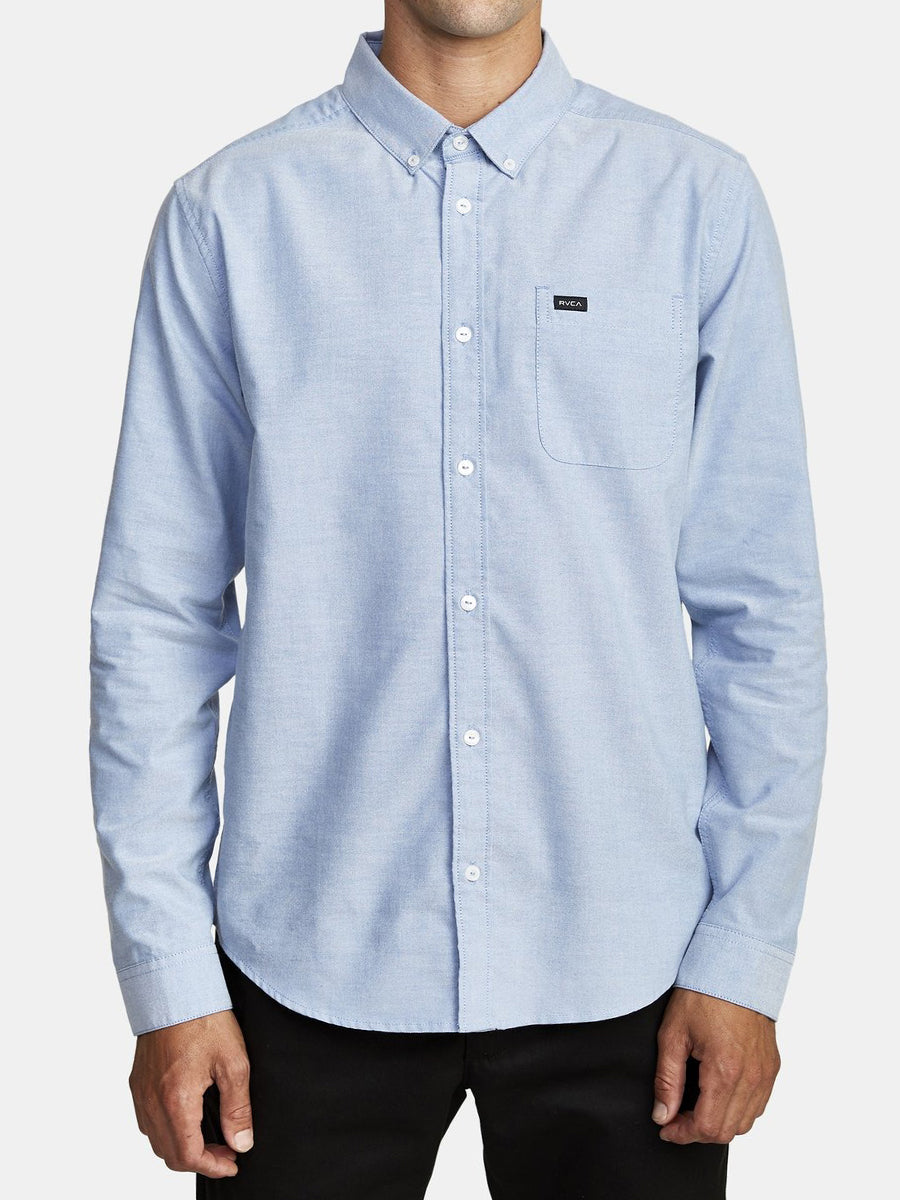 That'll Do Stretch Long Sleeve Shirt - Oxford Blue