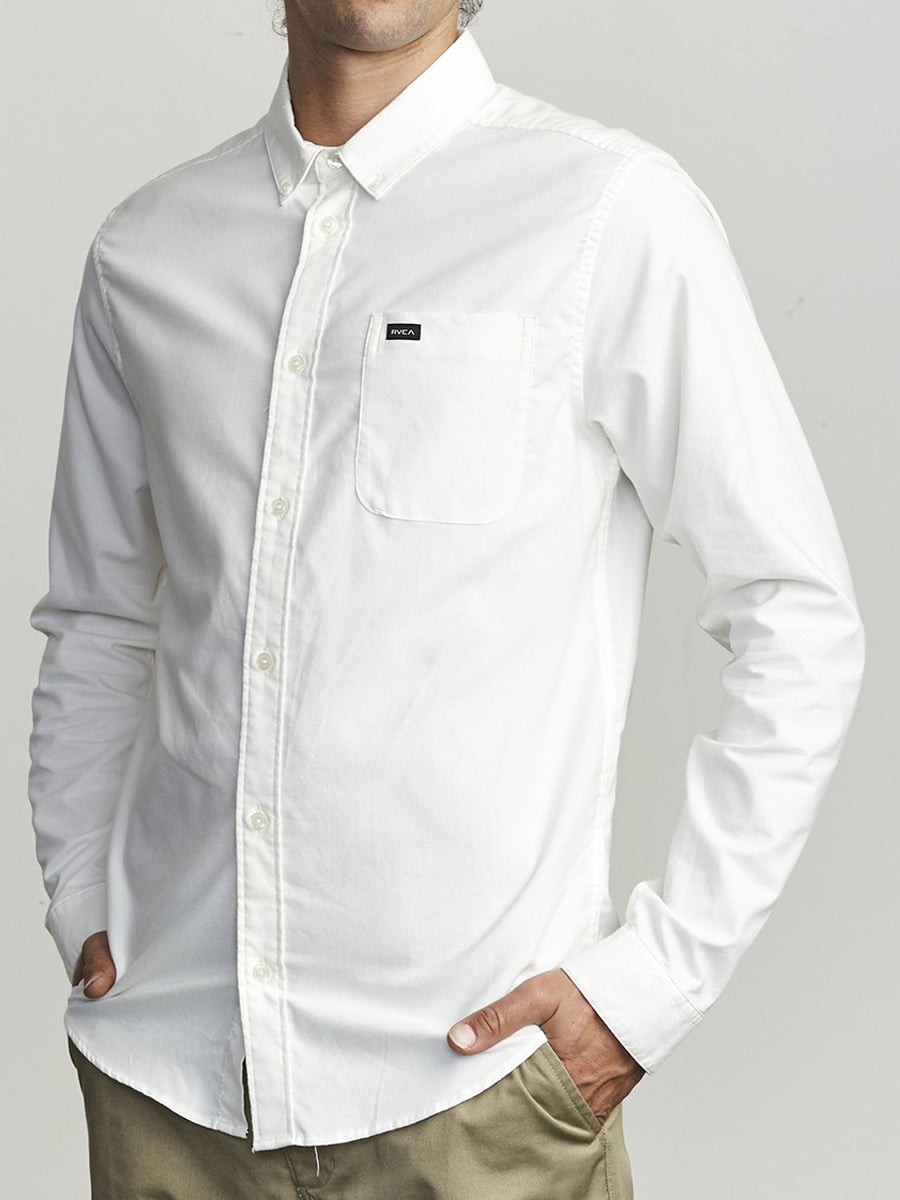 That'll Do Long Sleeve Oxford - White