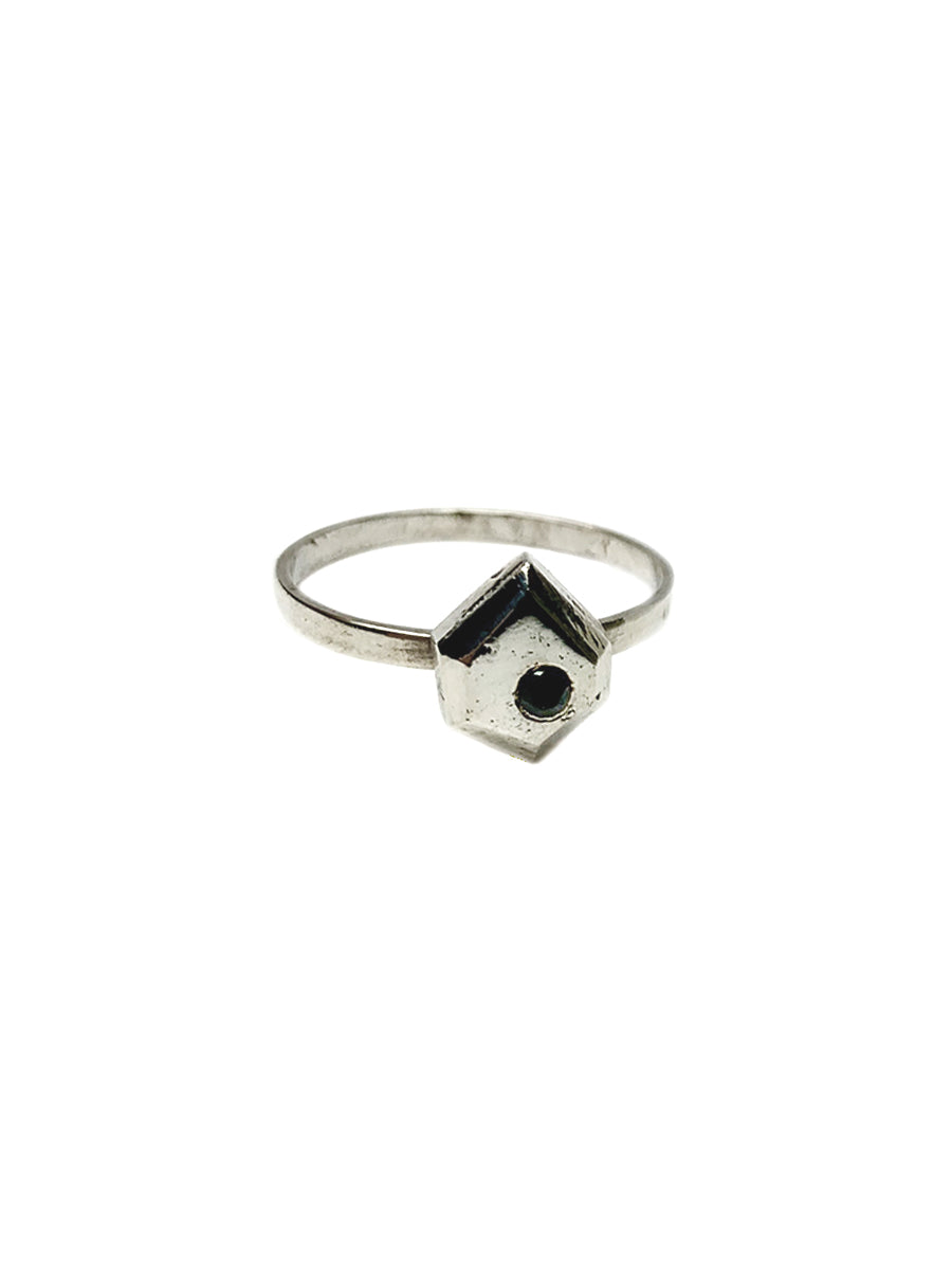 Freeform Ring - Sterling Silver with Spinel