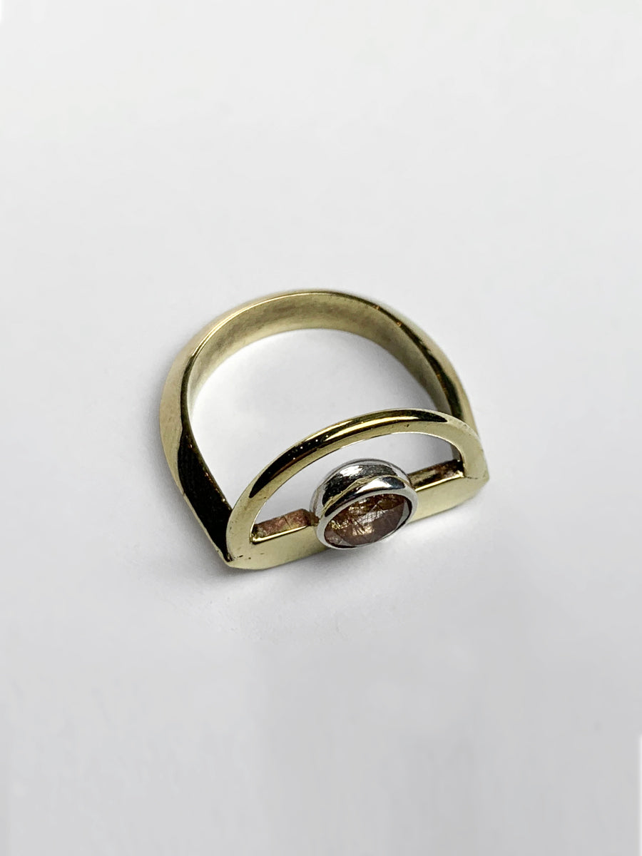 Halo Ring with Rutilated Quartz - Brass