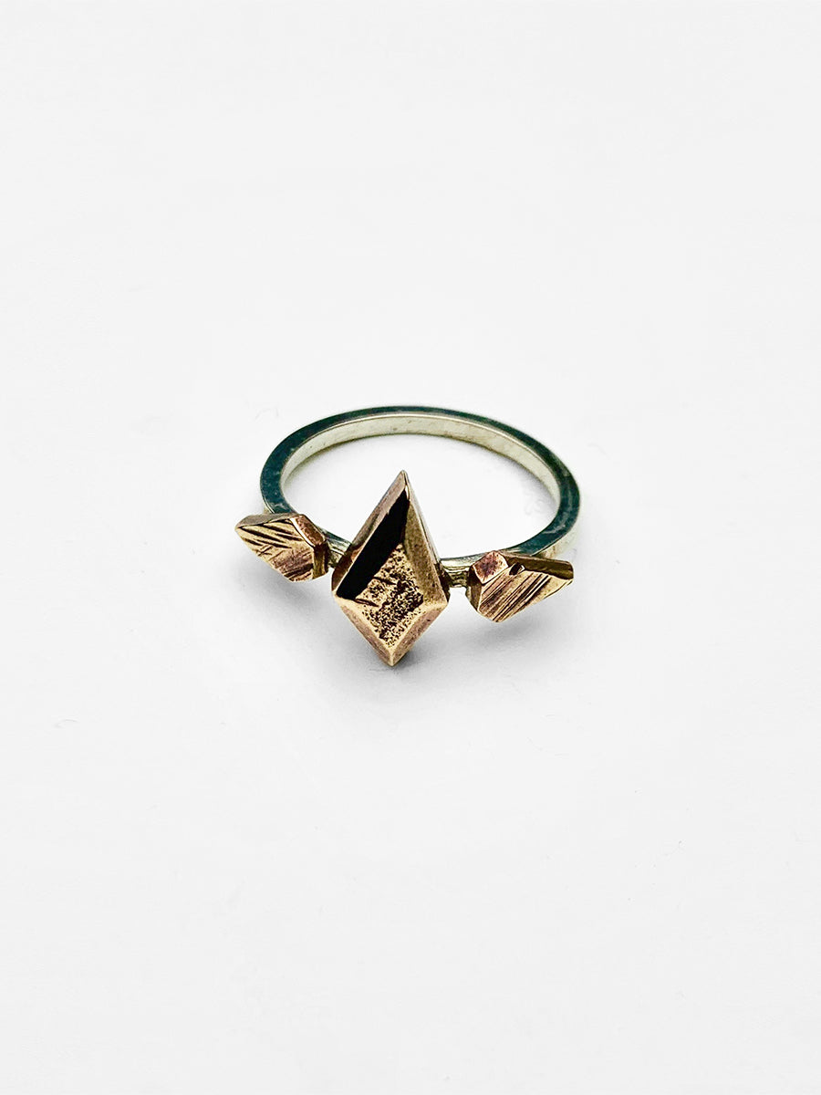 Triple Stone Sculpture Ring - Bronze