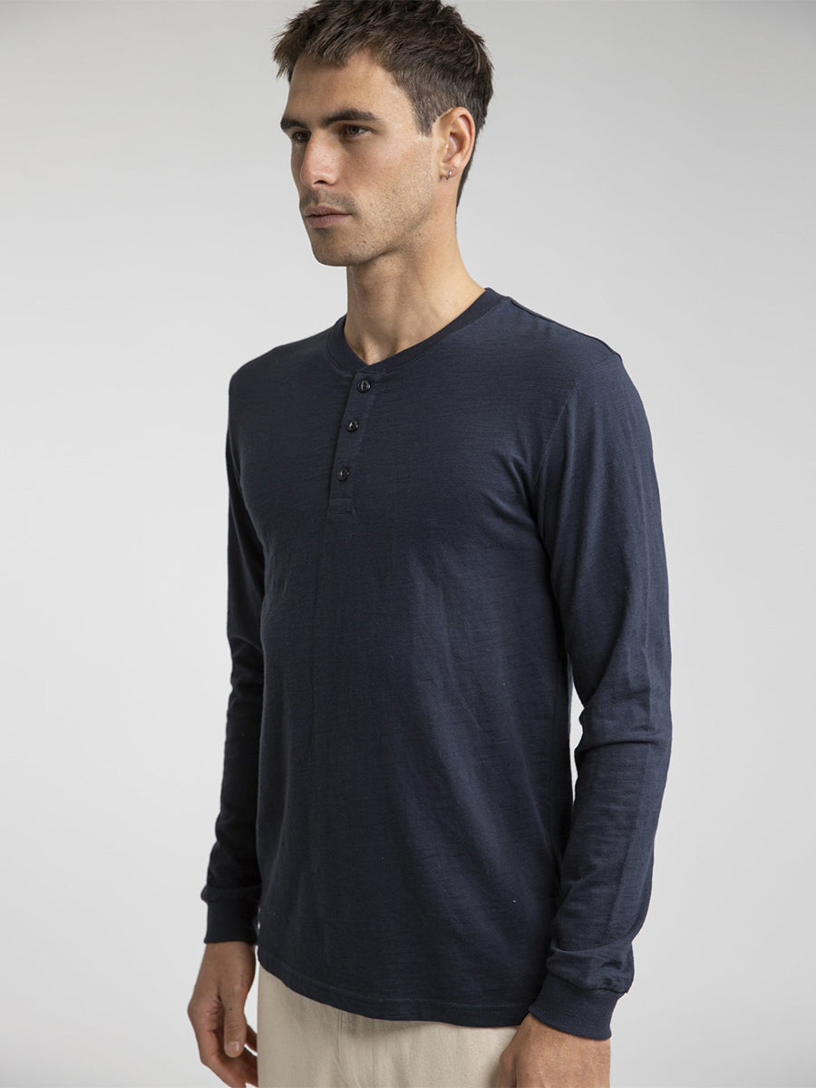 Henley Long Sleeve Shirt - Navy