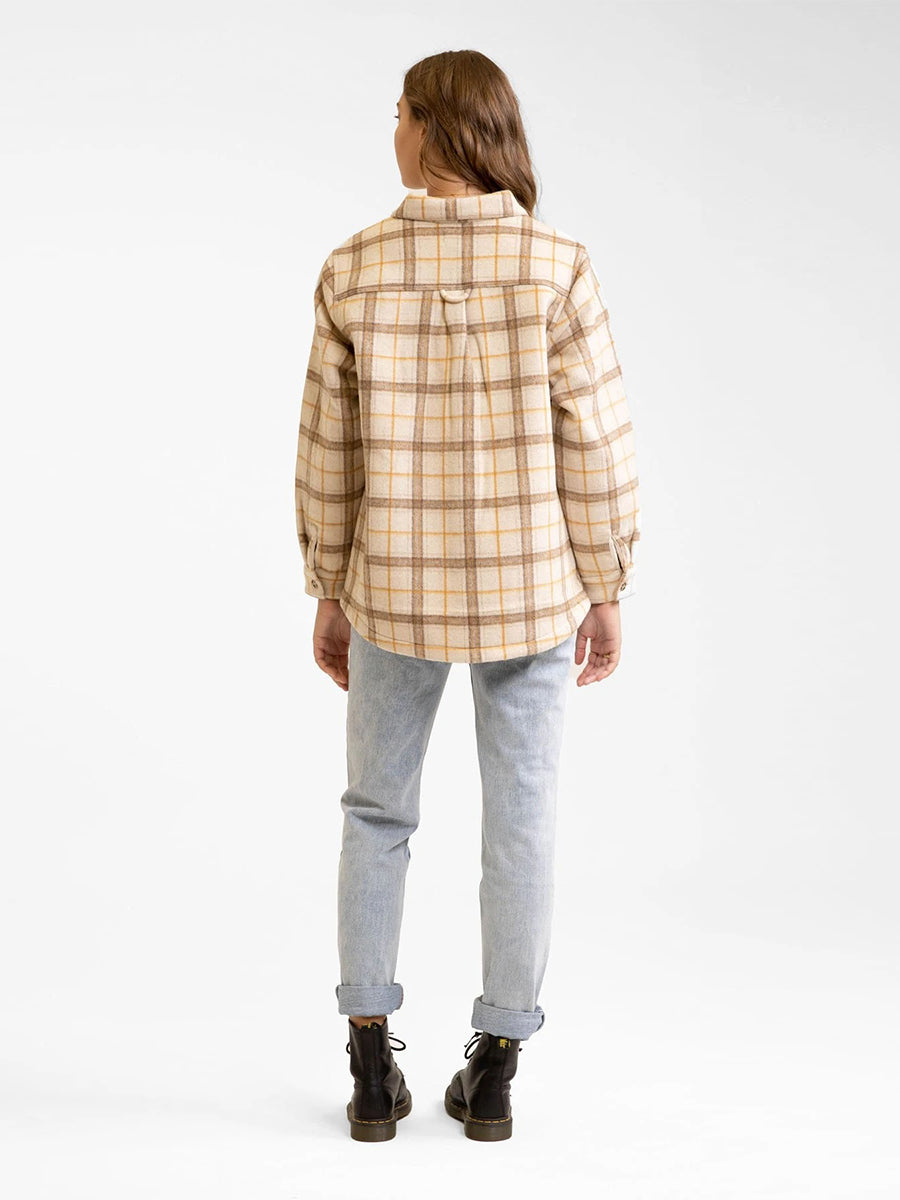 Vintage Button Up Shirt Jacket - Sand