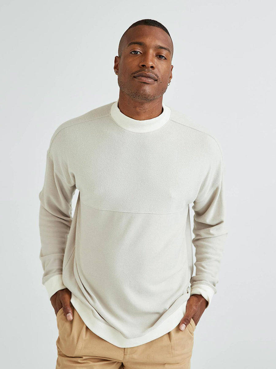 Men's Cozy Knit Long Sleeve Sweater - Bone
