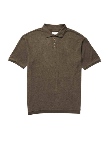 Men's Cozy Knit Short Sleeve Polo - Bitter Brown