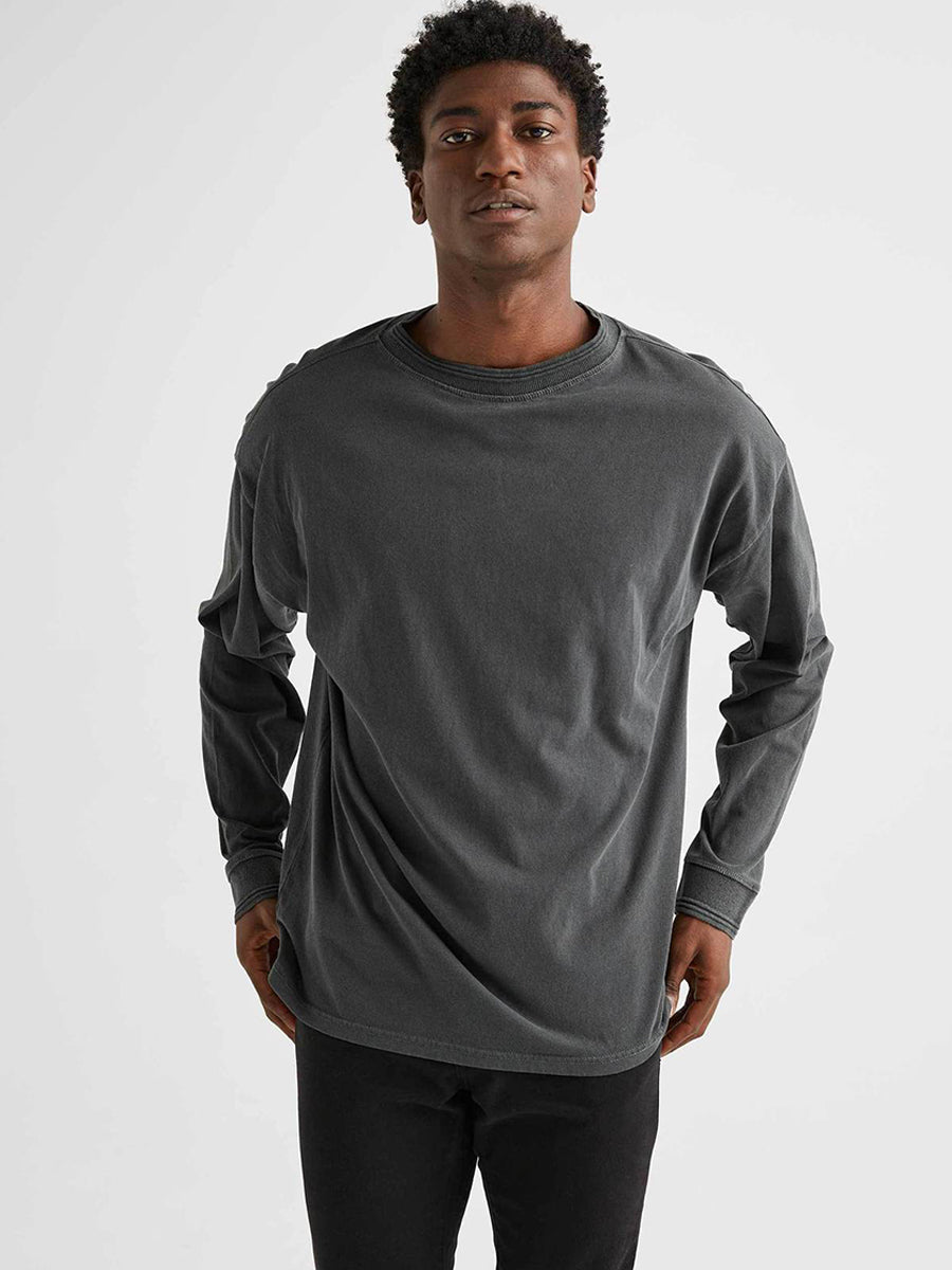 Men's Relaxed Long Sleeve Pullover - Stretch Limo