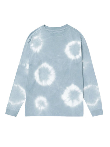 Men's Relaxed Long Sleeve Pullover - Blue Mirage Tie-Dye