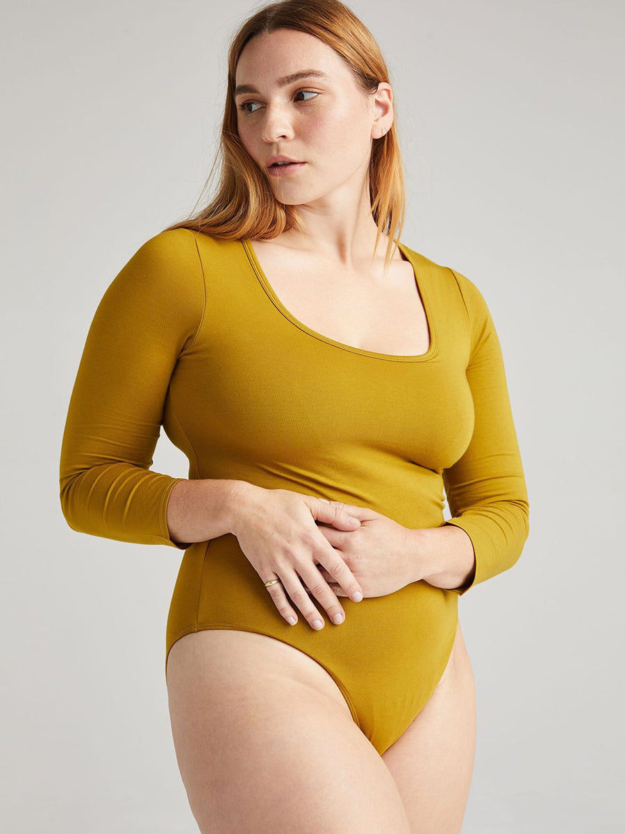 Scoop Neck Bodysuit - Golden Verde