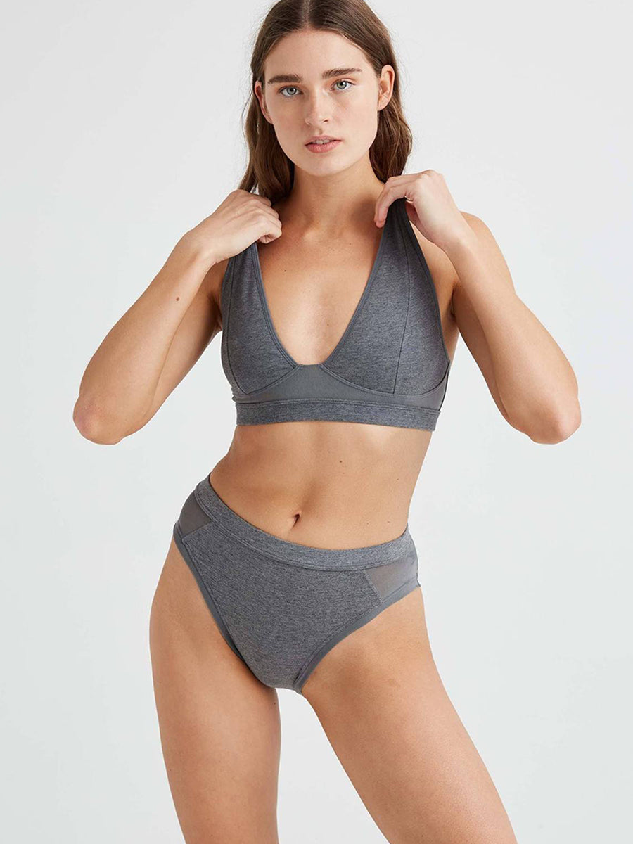 High Cut Bralette - Charcoal Heather Grey