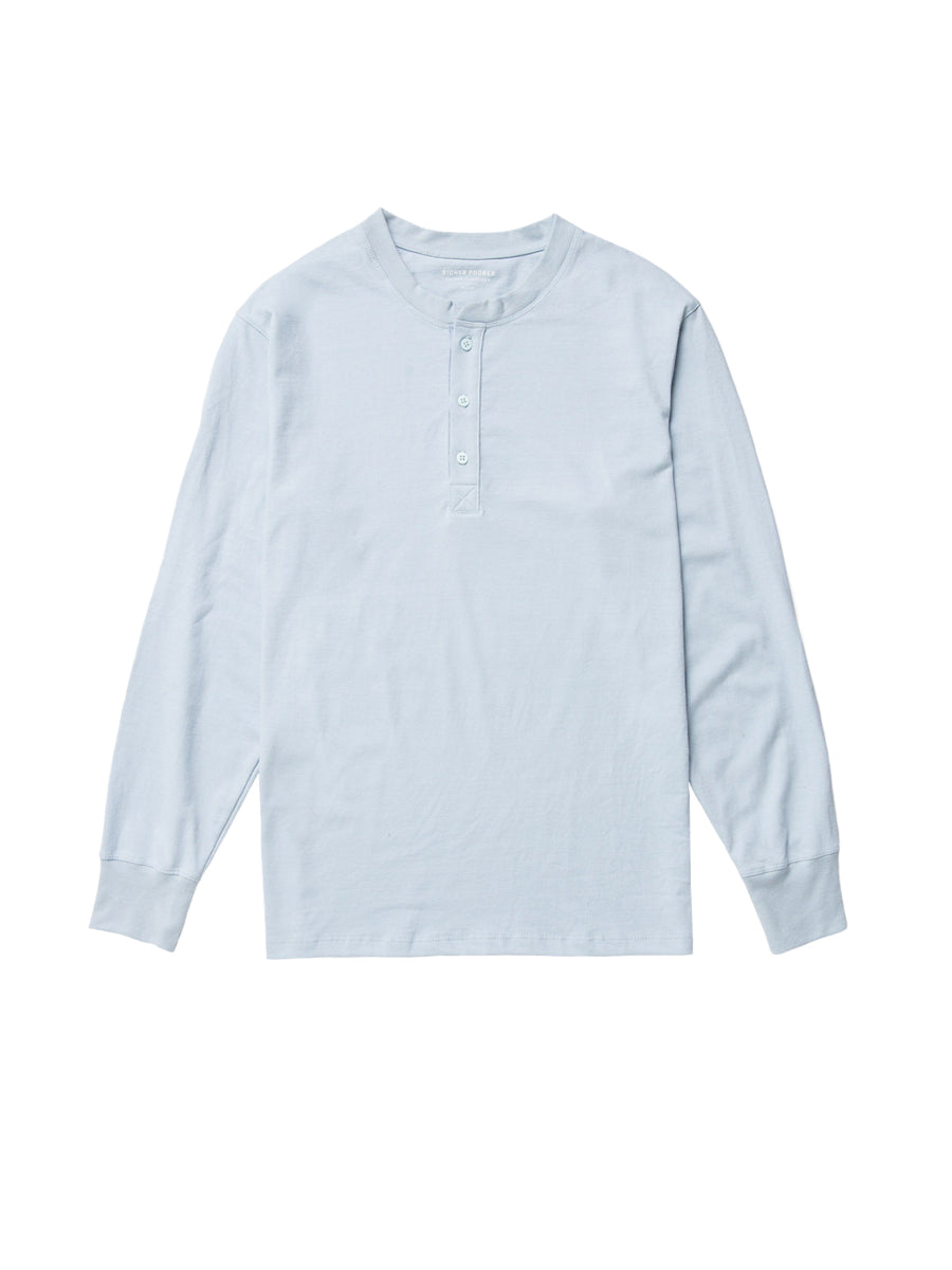 Long Sleeve Henley - Blue Grey